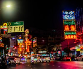 Bangkok Thailand street night market scenery Stock Photo 04