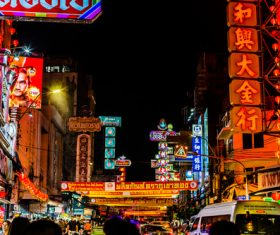 Bangkok Thailand street night market scenery Stock Photo 05