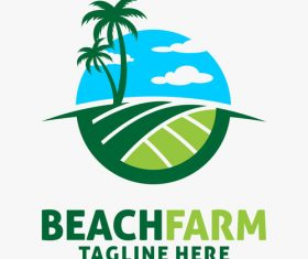 Beach farm logo design vectors