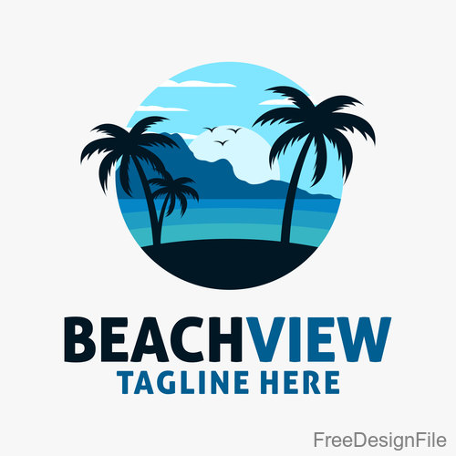 Beach view logo design vectors