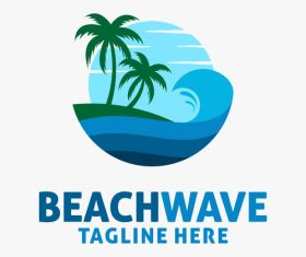 Beach wave logo design vectors