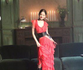 Beautiful Asian girl in red dress Stock Photo