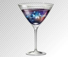 Beautiful cocktail with glass cup vectors 01