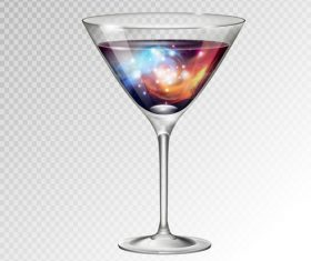 Beautiful cocktail with glass cup vectors 02