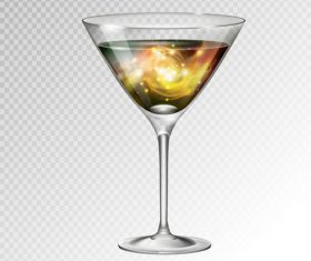 Beautiful cocktail with glass cup vectors 04
