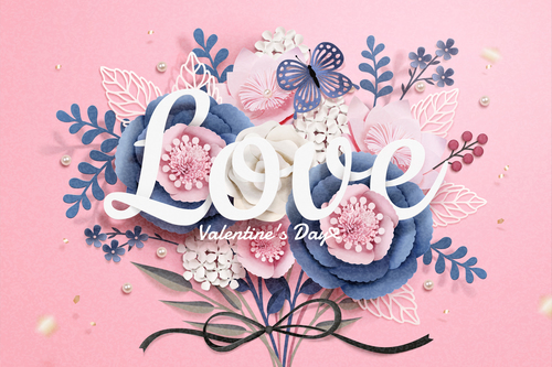 Beautiful flower with valentines day card vector