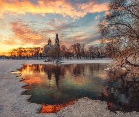 Beautiful winter landscape of sunset village Stock Photo