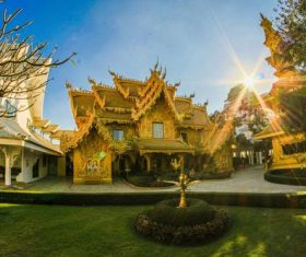 Beautifully carved Buddhist architecture Stock Photo 02