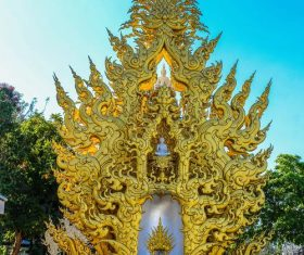 Beautifully carved Buddhist architecture Stock Photo 03