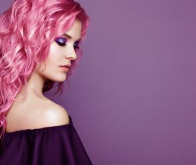 Beauty fashion model girl with colorful dyed hair Stock Photo 01