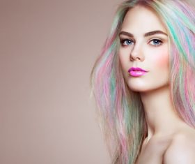 Beauty fashion model girl with colorful dyed hair Stock Photo 02