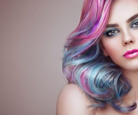 Beauty fashion model girl with colorful dyed hair Stock Photo 04