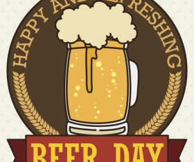 Beer day retor badge vector