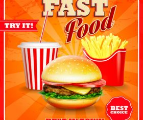 Best in town fast food poster vector