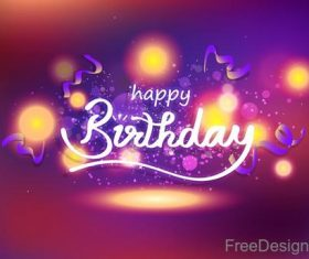 Birthday blurs background with purple ribbon vector