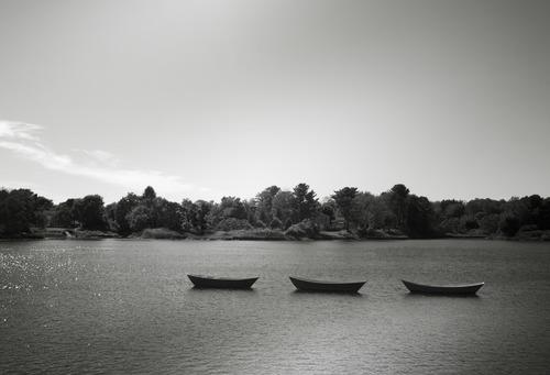 Black and white photo Canoes Floating on Lake Stock Photo