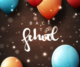 Black back to school background with colored balloons vector 01