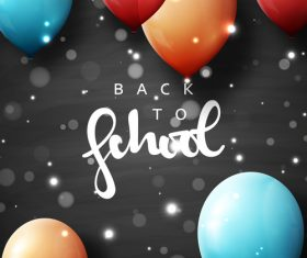 Black back to school background with colored balloons vector 02
