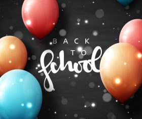 Black back to school background with colored balloons vector 03