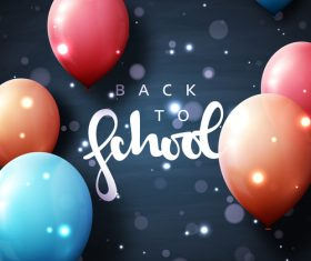 Black back to school background with colored balloons vector 04