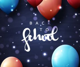 Blue back to school background with colored balloons vector