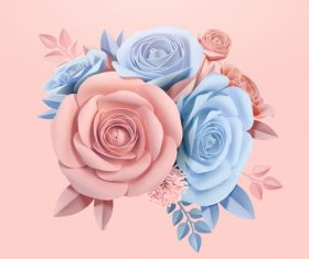 Blue with pink rose valentine illustration vector