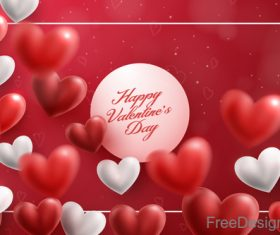 Blurs air heart with valentines day design vector 01