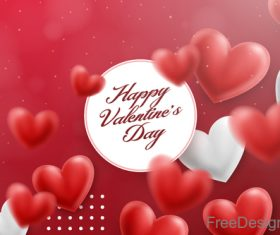Blurs air heart with valentines day design vector 03