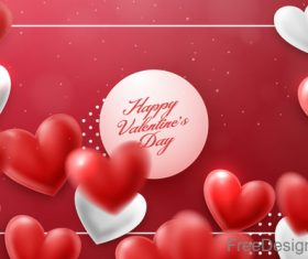 Blurs air heart with valentines day design vector 04