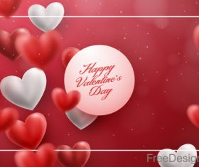 Blurs air heart with valentines day design vector 06