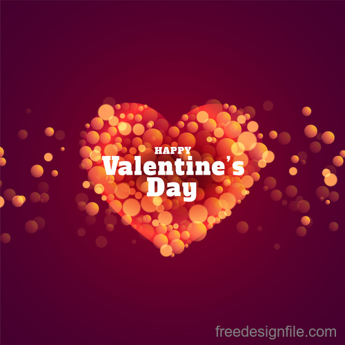 Bokeh valentines day background vector design