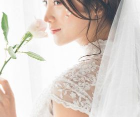Bride wearing wedding dress Stock Photo 02