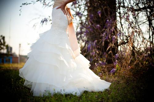 Bride wearing wedding dress Stock Photo 04