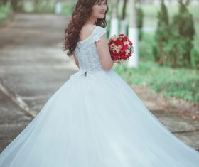 Bride wearing wedding dress Stock Photo 05