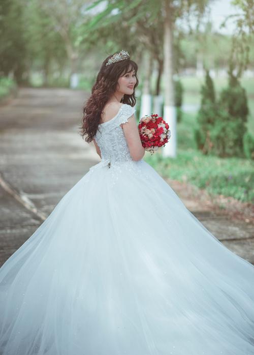 Bride wearing wedding dress Stock Photo 05