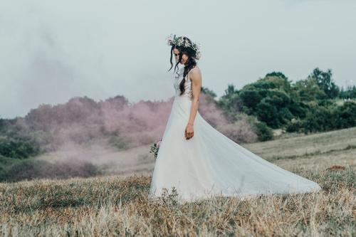 Bride wearing wedding dress Stock Photo 06