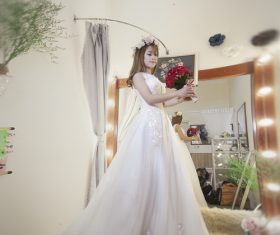 Bride wearing wedding dress Stock Photo 08