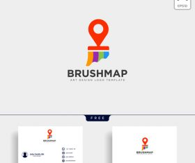 Brush map logo with business card template vector