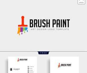 Brush paint logo and business card template vector