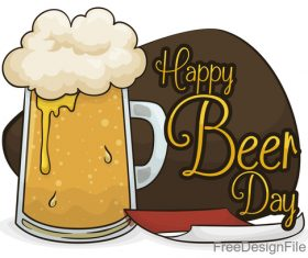 Cartoon beer foamy with beer day festival vector 01