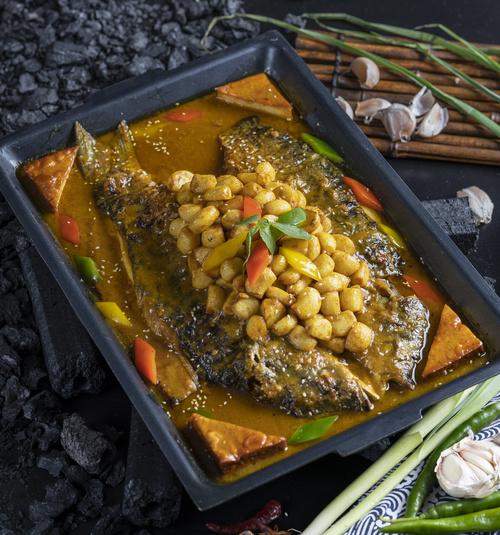 Chinese Sichuan style grilled fish Stock Photo 02