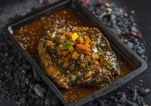 Chinese Sichuan style grilled fish Stock Photo 03
