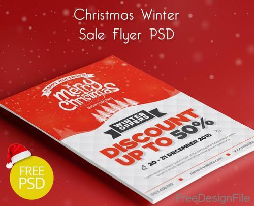 Christmas Winter Sale Flyer PSD Template