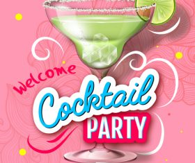 Cocktail party flyer template vectors material 01