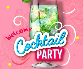 Cocktail party flyer template vectors material 09