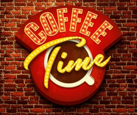 Coffee neon sign with wall background vetor
