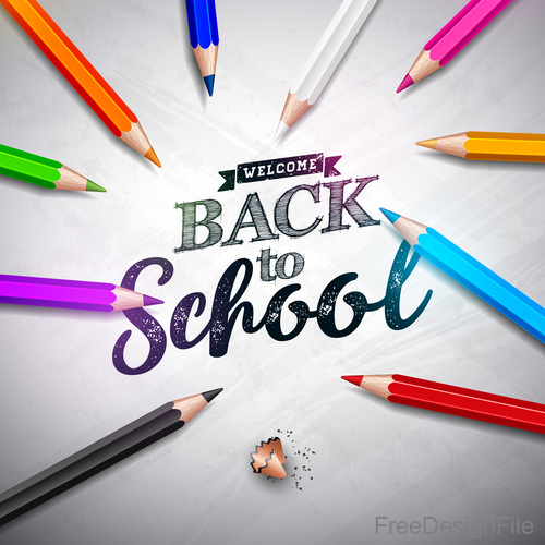 Colored pen with back to school background vector