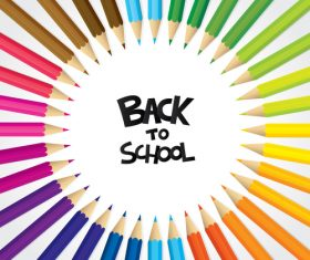Colored pencil frame with back to school background vector