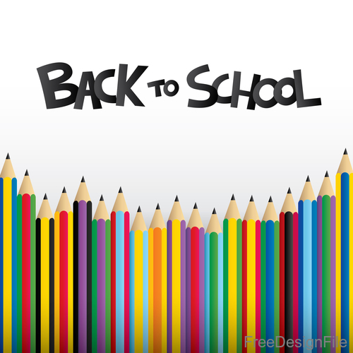 Colored pencil with back to school background vector 01