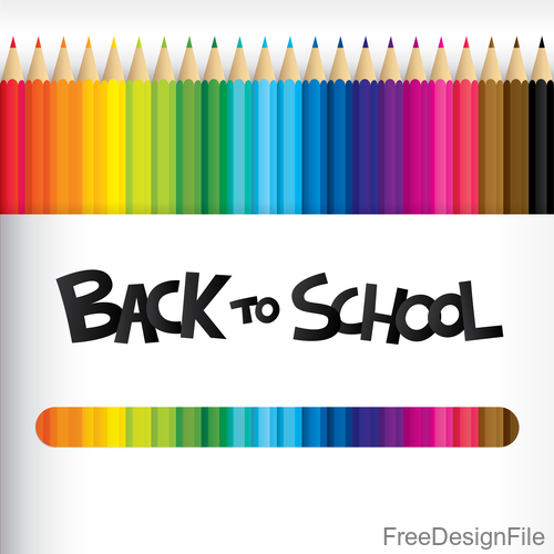 Colored pencil with back to school background vector 02